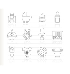 baby sketch icons vector image vector image