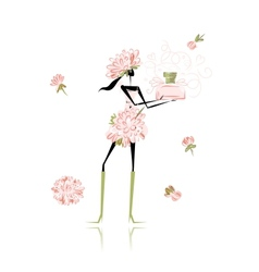 Floral girl with perfume bottle for your design vector image vector image