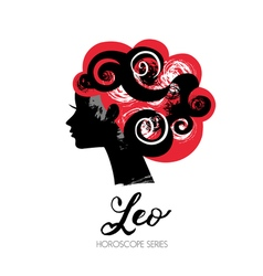Leo zodiac sign Beautiful girl silhouette vector image vector image