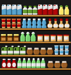 supermarket shelfs shelves with products and vector image