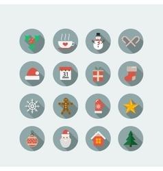 Christmas holiday icon set vector image