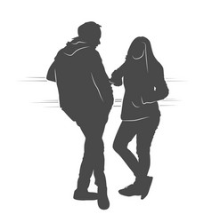 couple boy and girl speaking and waiting vector image