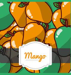 delicious mango fresh fruit label pattern vector image
