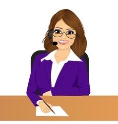 Female customer support phone operator vector