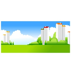 Green Landscape with buildings vector image