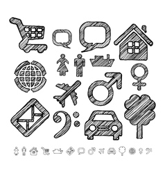 Group of icons for infographic in doodle style vector image