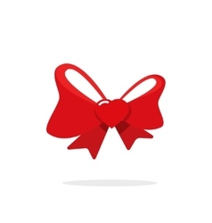 Red gift bow ribbon with heart vector image