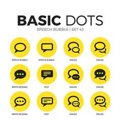 speech bubble flat icons set vector image vector image