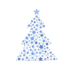 symbol silhouette of christmas tree stars vector image vector image