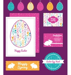 colorful tulip flowers set of Easter cards vector image