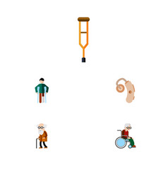 flat icon handicapped set of injured wheelchair vector image