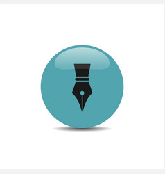 fountain pen icon on a blue bubble with shadow vector image vector image