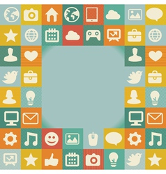 frame with social media icons - vector image vector image