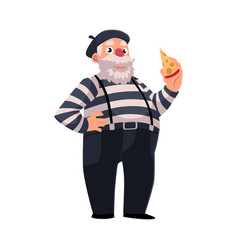 grey haired fat french mime in traditional vector image vector image