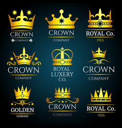luxury crown vintage monogram logos set vector image