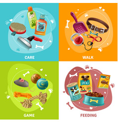 pet care concept 4 icons square design vector image