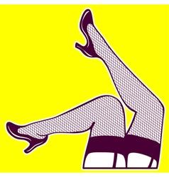 Woman legs fishnet stockings erotic sexy vector image
