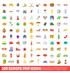 100 europe trip icons set cartoon style vector image