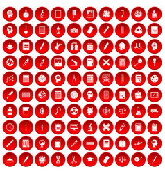 100 learning icons set red vector