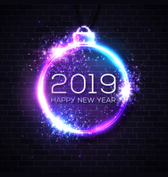 2019 happy new year neon sign on brick wall vector image