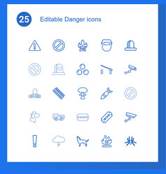 25 danger icons vector image