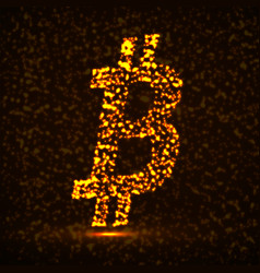 abstract sign bitcoin glowing particles vector image