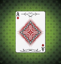 Ace of diamonds poker cards green background vector image