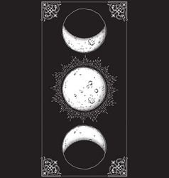 Antique style moon phases poster vector