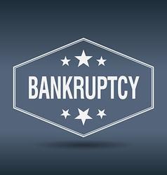 Bankruptcy hexagonal white vintage retro style vector