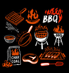 Bbq stickers and emblems grills and meat vector