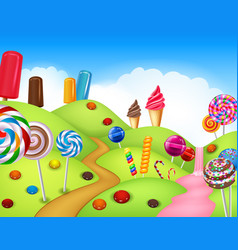 Beautiful candyland with cupcakeice cream lollip vector