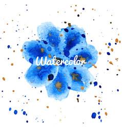 blue flower splash watercolor hand drawn vector image
