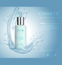 Bottle serum cosmetic mockup on blue background vector