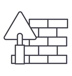 Brick walldiy line icon sign vector