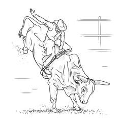 Bull riding vector