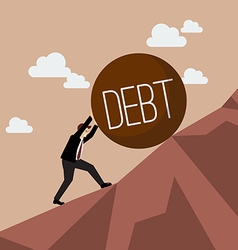 Businessman pushing heavy debt uphill vector image