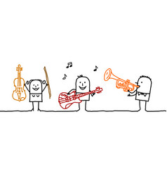 Cartoon three musicians vector