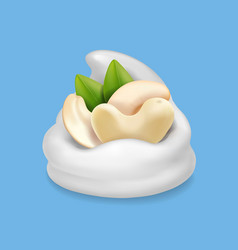 Cashew nuts in ice cream realistic vector