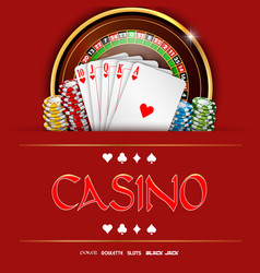Casino roulette with chips and playing cards vector
