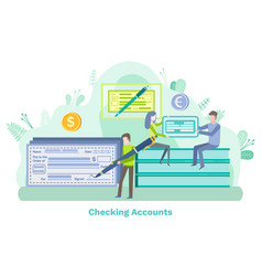Checking account man with pen banking systems vector