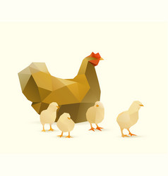 chicken with chicks vector image
