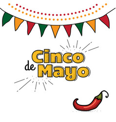 Cinco de mayo logo hand drawn lettering and chili vector