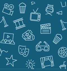 cinema seamless background with line icons vector image