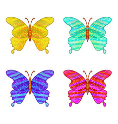 Colorful butterflies icons set vector