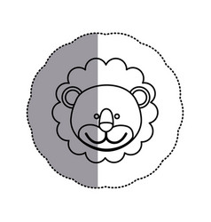Contour face lion icon vector