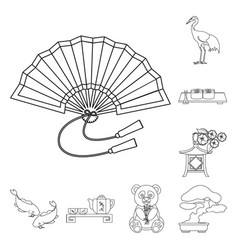 Country japan outline icons in set collection for vector