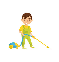cute boy with vaccuum cleaner kids activity vector image