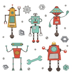 Cute colorful robots collection vector image