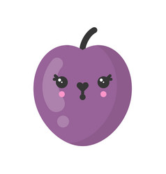 Cute smiling plum isolated colorful fruit vector