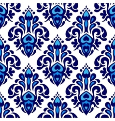 Damask flower seamless pattern blue and white vector image
